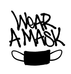 Sprayed wear a mask font with overspray in black vector