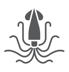 squid glyph icon animal and underwater vector image