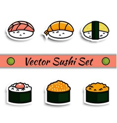 sushi set isolated vector image