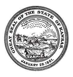 The great seal of the state of kansas 1861 vintage vector