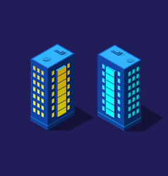 the night smart city 3d future neon ultraviolet vector image