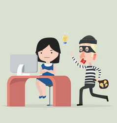 thief stealing idea from a woman vector image