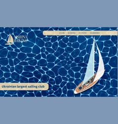 Top view sail boat website template vector