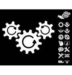 Transmission Wheels Rotation Icon with vector