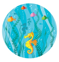 underwater world in circle vector image