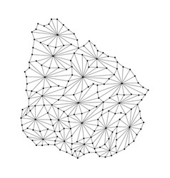 Uruguay map of polygonal mosaic lines network ray vector