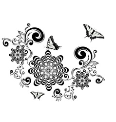 Vintage Floral with Butterflies3 vector image