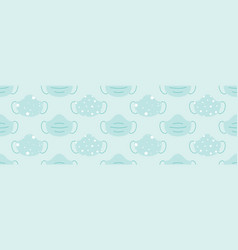 Wide horizontal medical face masks pattern vector