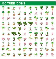 100 tree icons set cartoon style vector image vector image