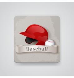 Baseball helmet and baseball icon vector image vector image