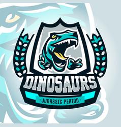 Colourful emblem logo dangerous raptor ready to vector