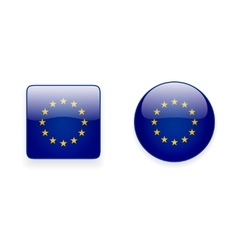 Icons with flag of the European Union vector image vector image