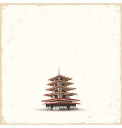 Japanese pagoda on grunge background vector image vector image