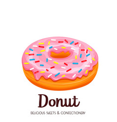 pink donut icon vector image