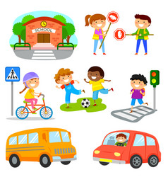 road traffic safety set vector image vector image