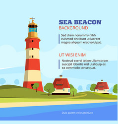 rock stones island with lighthouse on it marine vector image