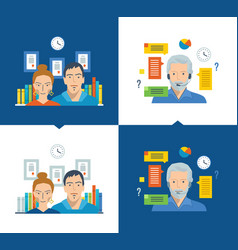 team and teamwork working place online training vector image vector image