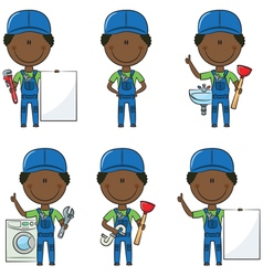 African-American plumber vector image