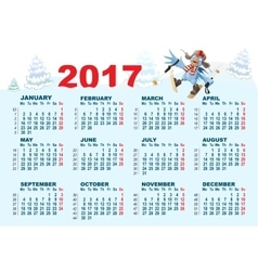 Blue Rooster symbol 2017 and calendar Cartoon vector image vector image