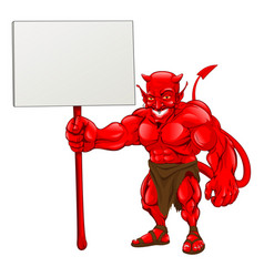 devil standing holding sign vector image vector image