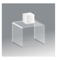 Glass rack shelf podium 3d isometric realistic vector image vector image