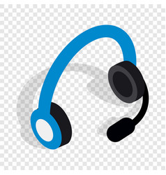 headphones with microphone isometric icon vector image vector image
