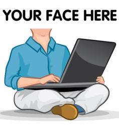 laptop man vector image vector image