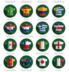Soccer flag shirt icons vector