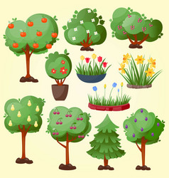 funny cartoon green garden park tree with fruits vector image