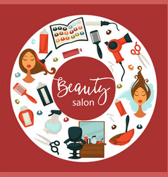 hair beauty salon hairdresser parlor poster vector image