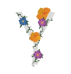 letter with flowers decoration vector image