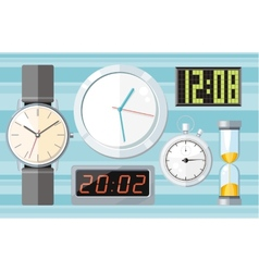 Set of colorful clocks icons vector image vector image