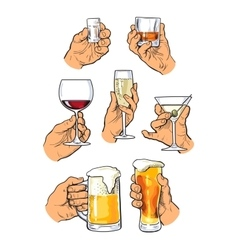 Set of different glass stemware in hand vector image vector image