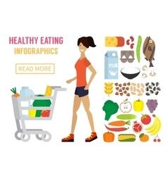 Woman in supermarket Flat design vector image