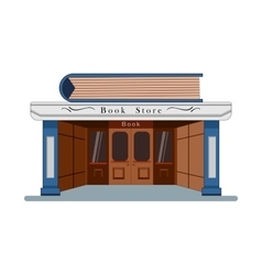 Bookstore with a large book in the flat roof style vector image