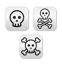 Cartoon skull with bones buttons set vector image vector image