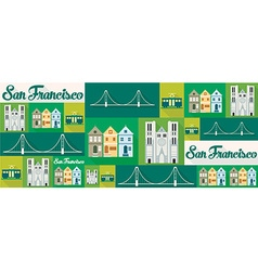 travel and tourism icons San Francisco vector image