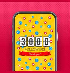 3000 followers thank you social sites post thank vector
