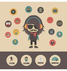 388listening music infographic vector