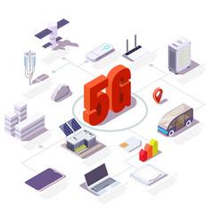 5g cellular network flowchart flat vector