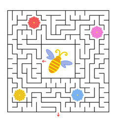 a square labyrinth help the bee to find a way out vector image