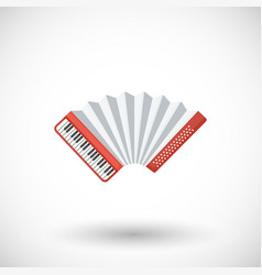 Accordion musical instrument flat icon vector