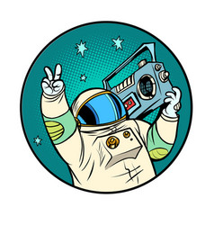 astronaut with a boombox disco retro music vector image