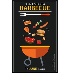 Barbecue invitation party template flat design set vector