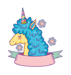Beautiful little unicorn with flowers and ribbon vector