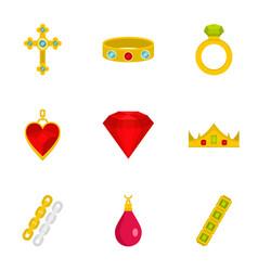 bijouterie icon set flat style vector image