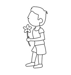 boy with flowers bouquet present outline vector image