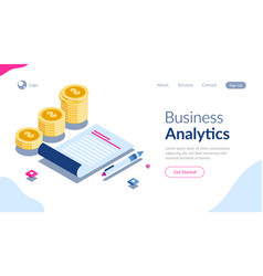 business analytics and coins stack isometric vector image