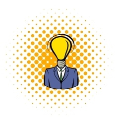 Businessman with lamp-head icon comics style vector image