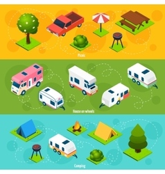 Camping and travel isometric horizontal banners vector